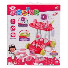 Набор доктора с тележкой для мальчика KinLeTong 17 предметов, тележка, звук, голоса Розовый