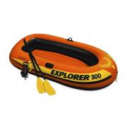 Двухместная надувная лодка Intex 58332 Explorer 300 Set, 211 х 117 см,с веслами и насосом Оранжевый
