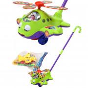 Каталка Вертолет на палке Leqi-Toys со звуковыми эффектами Зеленый