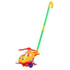 Каталка Вертолет на палке Leqi-Toys Желто-красный
